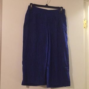 Apt 9 Cropped Black and Blue Striped Culottes